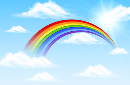 Colorful rainbow in blue sky illustration Vectores
