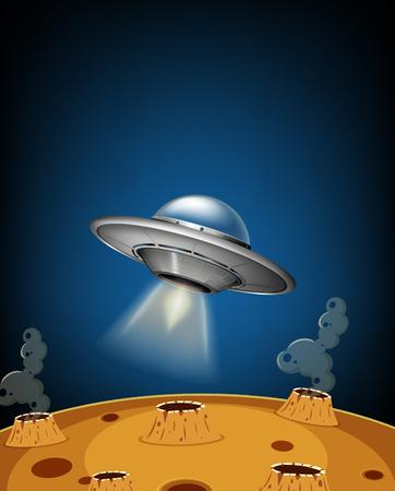 UFO landing on moon surface illustration Illustration