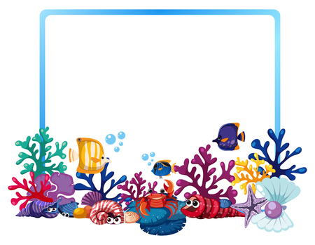 Border template with fish and coral reef illustration