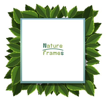 Frame template with green leaves illustration.