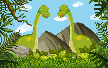 Two brachiosaurus in the field illustration.