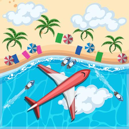 Aerial view of airplane flying over the ocean illustration. Ilustração