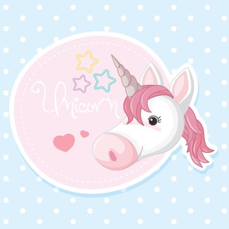 Poster design with pink unicorn illustration.