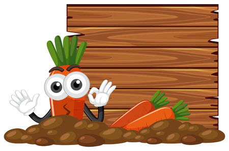 Fresh carrot and wooden board illustration.