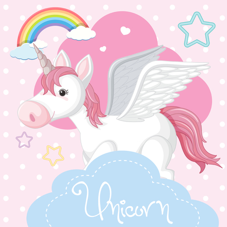 Poster design with unicorn and pink cloud illustration