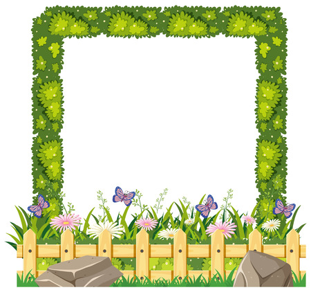 Border template with green grass illustration Illustration