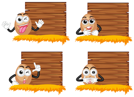 Wooden boards with eggs illustration