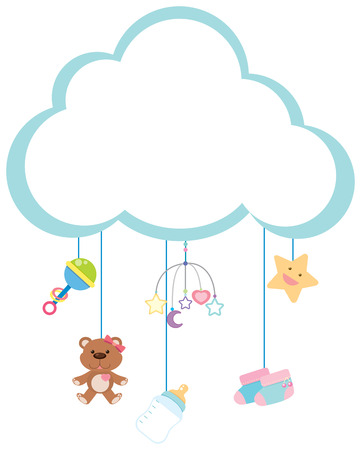 Border template with baby items illustration