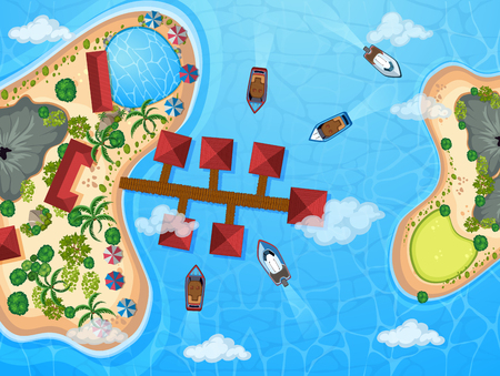 Aerial view of resort buildings and boats at the sea illustration