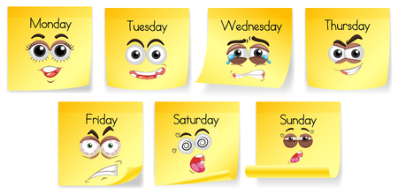 Yellow notes with days of the week and facial expressions illustration Illustration