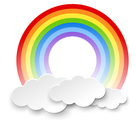 Round rainbow in the clouds illustration Vectores