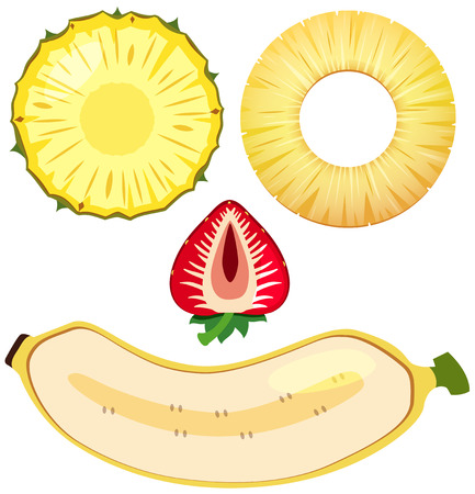 Pineapple and banana on white background illustration Çizim