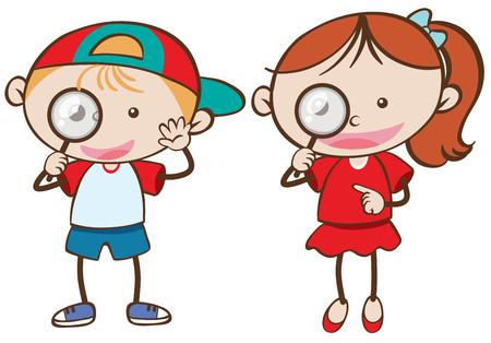 Boy and girl holding magnifying glass illustration