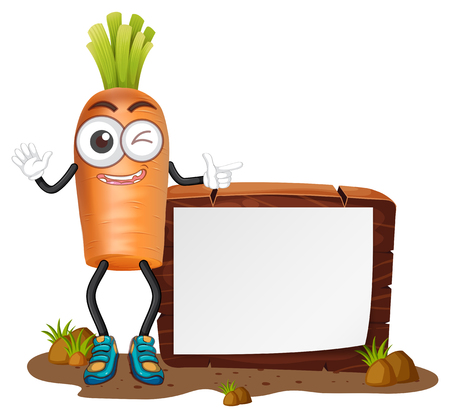 Happy carrot and blank board illustration.