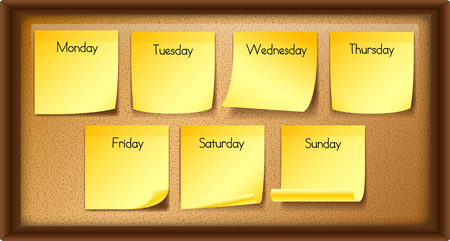 Seven days of the weeks on board illustration