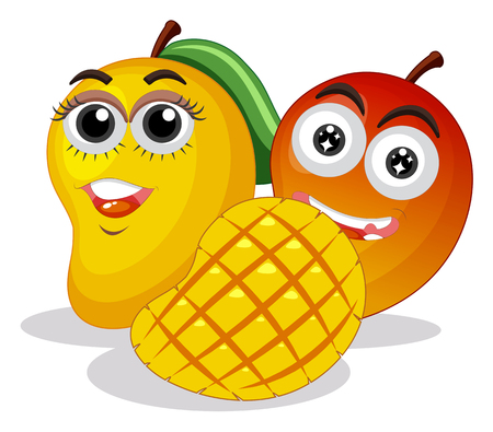 Fresh mangoes with happy face illustration