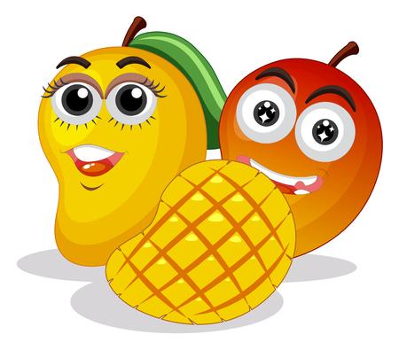 Fresh mangoes with happy face illustration