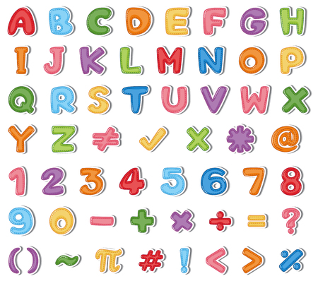 Font design for English alphabets and numbers in many colors illustration