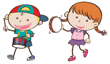 Boy and girl playing musical instruments illustration.