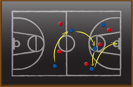 Game plan on black board illustration.
