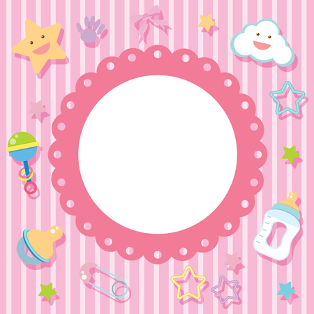 Border template with baby items on pink background illustration
