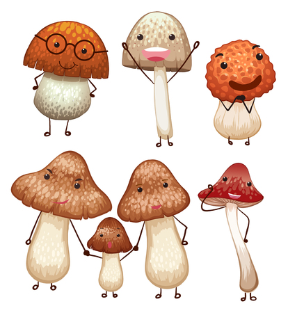Mushrooms with different facial  expressions illustration.