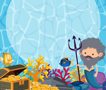 Background design with male mermaid and treasure illustration.