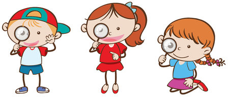 Boy and girls with magnifying glass illustration.