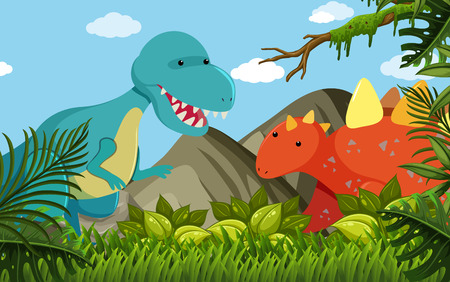 Two dinosaurs in the field illustration