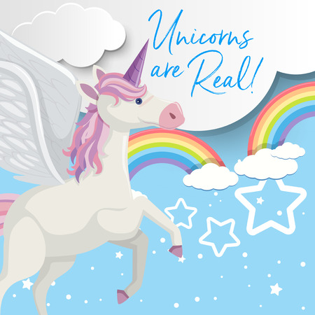 Poster design with unicorn flying in sky illustration