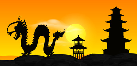 Background scene with silhouette chinese dragon at sunset illustration