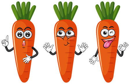 Three carrots with facial expressions illustration