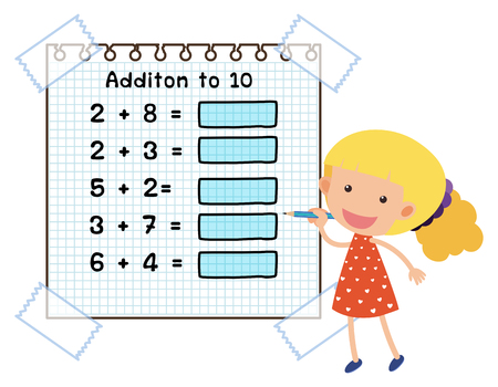 Math Worksheet For Addition To Ten Illustration Royalty Free ...