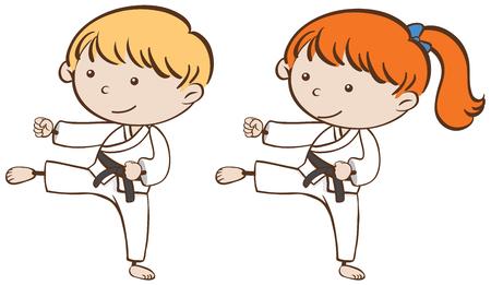 Two kids playing karate illustration