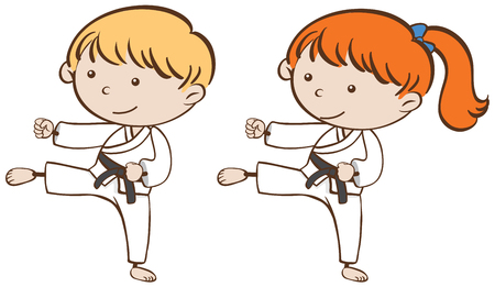 Two kids playing karate illustration