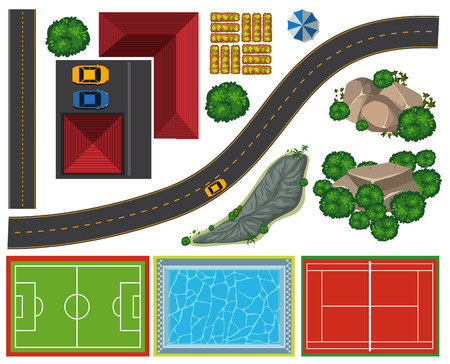 Aerial view of different courts and road illustration