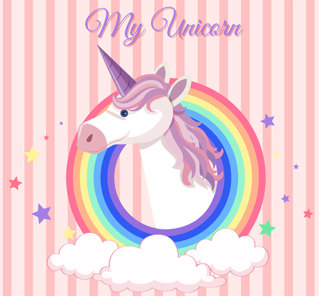 Poster design with unicorn and round rainbow illustration