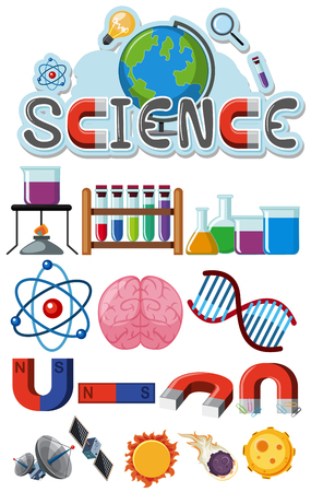 Science icons on white background illustration