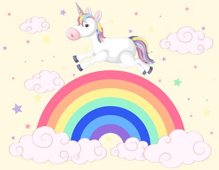 Unicorn running on the rainbow illustration