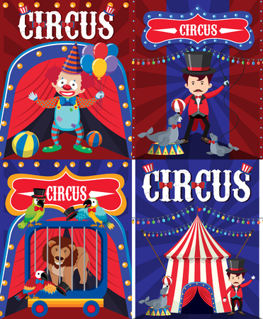 Poster design for circus with clown and trainer illustration
