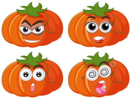 Fresh pumpkin with different facial expressions illustration