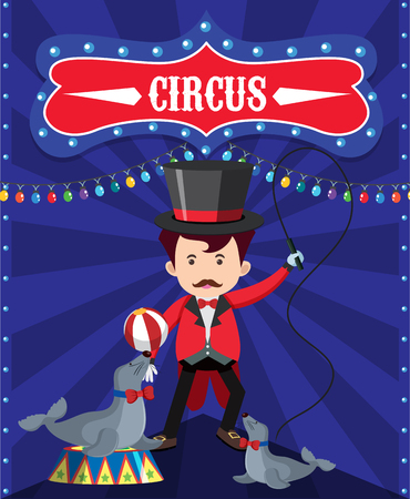 Poster design for circus with ring master and seals illustration