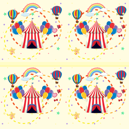 Seamless background with circus tent and balloons illustration