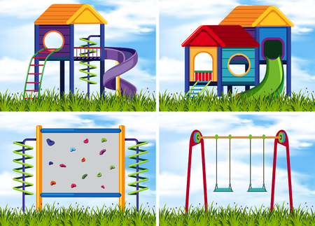Four scenes with play stations at playground illustration