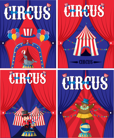 Poster design for circus with animals and trainer illustration