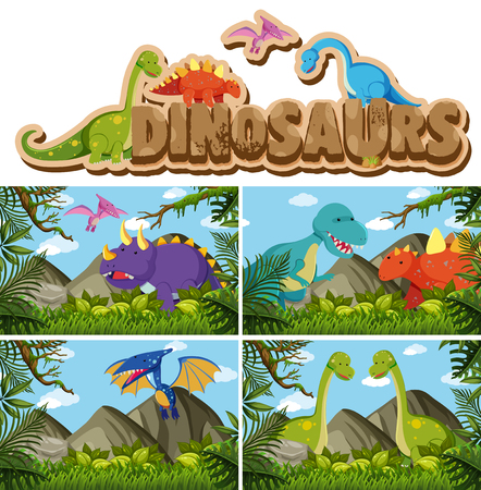 Different types of dinosaurs in jungle illustration