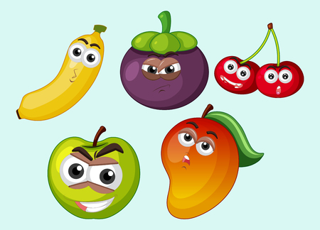 Different types of fruits with facial expressions illustration