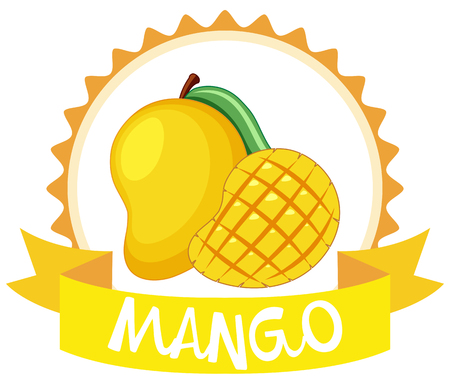 Sticker design with fresh mango illustration