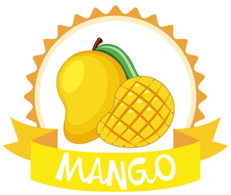 Sticker design with fresh mango illustration