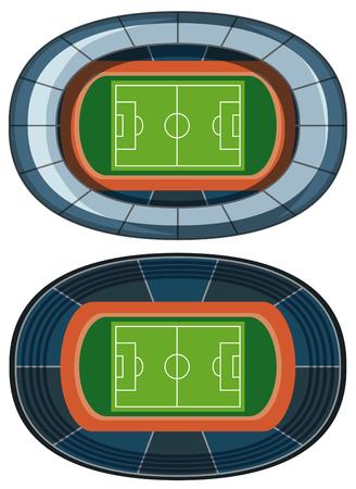Football Field Birds Eye View illustration Ilustracja